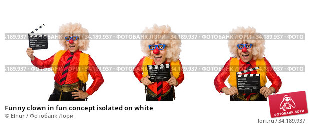 Funny clown in fun concept isolated on white. Стоковое фото, фотограф Elnur / Фотобанк Лори