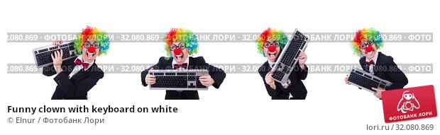 Купить «Funny clown with keyboard on white», фото № 32080869, снято 8 мая 2013 г. (c) Elnur / Фотобанк Лори