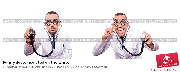 Funny doctor isolated on the white. Стоковое фото, фотограф Zoonar.com/Elnur Amikishiyev / easy Fotostock / Фотобанк Лори