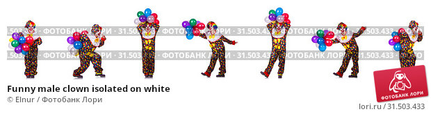 Купить «Funny male clown isolated on white», фото № 31503433, снято 17 августа 2019 г. (c) Elnur / Фотобанк Лори