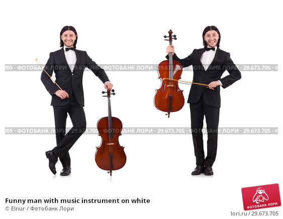 Купить «Funny man with music instrument on white», фото № 29673705, снято 30 ноября 2013 г. (c) Elnur / Фотобанк Лори