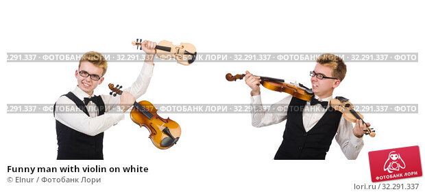 Купить «Funny man with violin on white», фото № 32291337, снято 27 января 2014 г. (c) Elnur / Фотобанк Лори