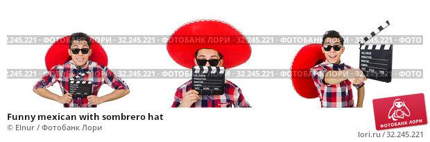 Купить «Funny mexican with sombrero hat», фото № 32245221, снято 21 января 2014 г. (c) Elnur / Фотобанк Лори