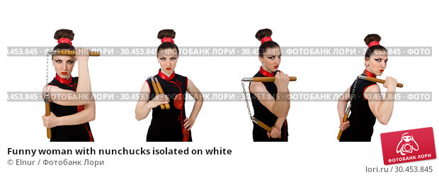 Funny woman with nunchucks isolated on white. Стоковое фото, фотограф Elnur / Фотобанк Лори