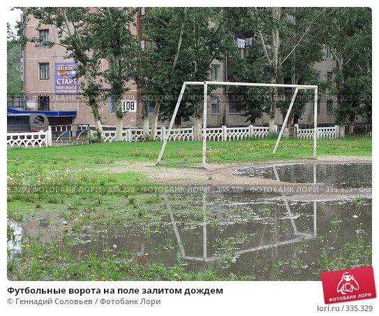 Футбольные ворота на поле залитом дождем, фото № 335329, снято 24 июня 2008 г. (c) Геннадий Соловьев / Фотобанк Лори