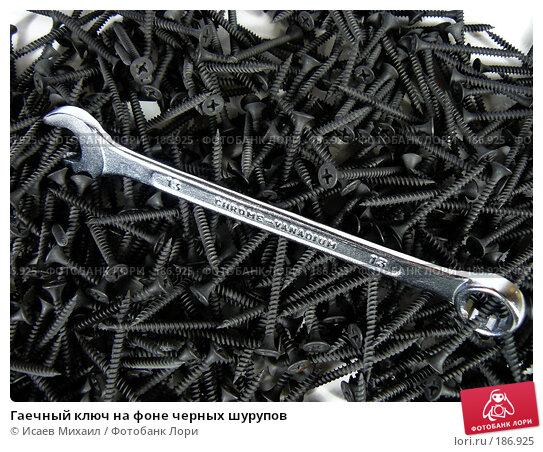 Гаечный ключ на фоне черных шурупов, фото № 186925, снято 26 января 2008 г. (c) Исаев Михаил / Фотобанк Лори