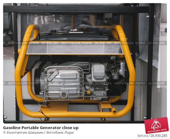 Купить «Gasoline Portable Generator close up», фото № 26930285, снято 13 сентября 2017 г. (c) Константин Шишкин / Фотобанк Лори