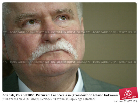 Gdansk, Poland 2006. Pictured: Lech Walesa (President of Poland between 1990 and 1995, Nobel Prize in 1983) Редакционное фото, фотограф BE&W AGENCJA FOTOGRAFICZNA SP. / age Fotostock / Фотобанк Лори
