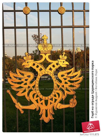 Купить «Герб на ограде Царицинского парка», эксклюзивное фото № 111873, снято 29 сентября 2007 г. (c) Журавлев Андрей / Фотобанк Лори