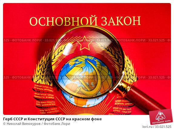 Купить «Герб СССР и Конституция СССР на красном фоне», фото № 33021525, снято 2 февраля 2020 г. (c) Николай Винокуров / Фотобанк Лори