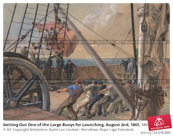 Купить «Getting Out One of the Large Buoys for Launching, August 2nd, 1865, 1865, Watercolor over graphite with touches of gouache, Sheet: 7 5/16 × 10 3/8 in...», фото № 32018009, снято 26 апреля 2017 г. (c) age Fotostock / Фотобанк Лори