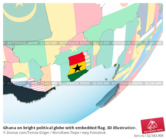 Купить «Ghana on bright political globe with embedded flag. 3D illustration.», фото № 32543909, снято 10 декабря 2019 г. (c) easy Fotostock / Фотобанк Лори
