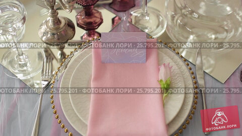 Glasses in plates in restaurant, видеоролик № 25795201, снято 16 марта 2016 г. (c) Алексей Макаров / Фотобанк Лори