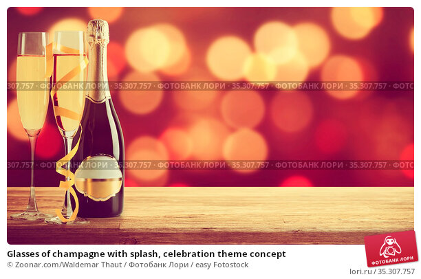 Glasses of champagne with splash, celebration theme concept. Стоковое фото, фотограф Zoonar.com/Waldemar Thaut / easy Fotostock / Фотобанк Лори