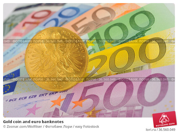 Gold coin and euro banknotes. Стоковое фото, фотограф Zoonar.com/Wolfilser / easy Fotostock / Фотобанк Лори