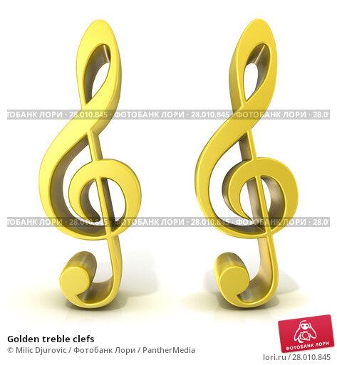 Купить «Golden treble clefs», фото № 28010845, снято 20 июня 2019 г. (c) PantherMedia / Фотобанк Лори