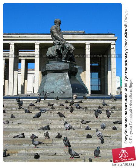 Голуби около памятника Ф.М. Достоевскому у Российской Государственной Библиотеки, фото № 85581, снято 11 июля 2007 г. (c) Петухов Геннадий / Фотобанк Лори