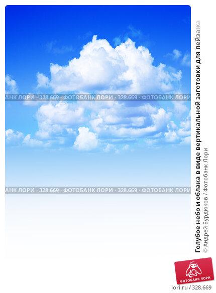 Голубое небо и облака в виде вертикальной заготовки для пейзажа, фото № 328669, снято 3 июня 2008 г. (c) Андрей Бурдюков / Фотобанк Лори