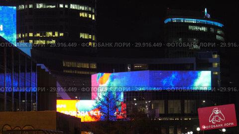 Купить «Город Екатеринбург ночью. Деловой центр. Yekaterinburg city at night. Downtown.», видеоролик № 29916449, снято 9 февраля 2019 г. (c) Евгений Романов / Фотобанк Лори