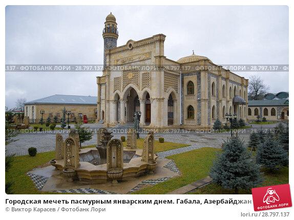 Городская мечеть пасмурным январским днем. Габала, Азербайджан (2018 год). Стоковое фото, фотограф Виктор Карасев / Фотобанк Лори