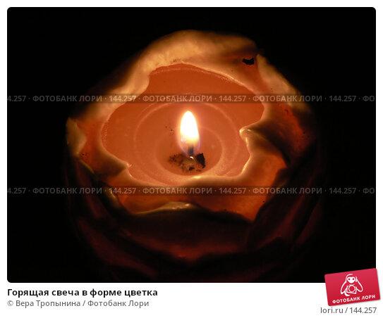 Горящая свеча в форме цветка, фото № 144257, снято 4 декабря 2016 г. (c) Вера Тропынина / Фотобанк Лори