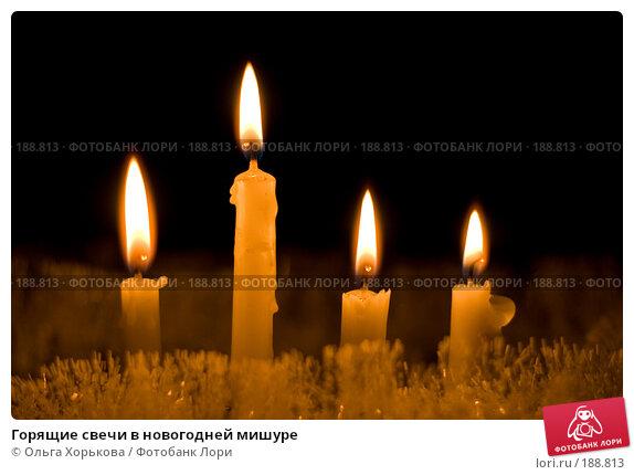 Купить «Горящие свечи в новогодней мишуре», фото № 188813, снято 20 декабря 2007 г. (c) Ольга Хорькова / Фотобанк Лори