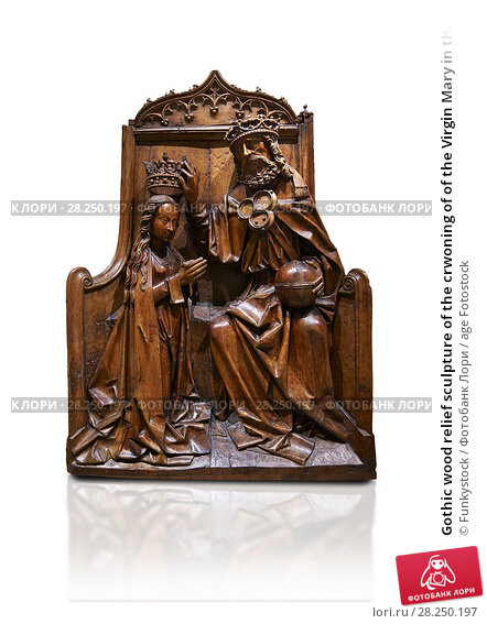 Купить «Gothic wood relief sculpture of the crwoning of of the Virgin Mary in the central European sgchiool style, end of 15th Century. National Museum of Catalan...», фото № 28250197, снято 1 февраля 2017 г. (c) age Fotostock / Фотобанк Лори