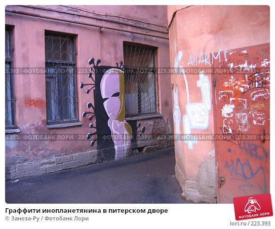 Граффити инопланетянина в питерском дворе, фото № 223393, снято 19 марта 2007 г. (c) Заноза-Ру / Фотобанк Лори