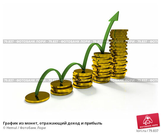 Купить «График из монет, отражающий доход и прибыль», фото № 79837, снято 17 марта 2018 г. (c) Hemul / Фотобанк Лори