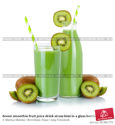 Green smoothie fruit juice drink straw kiwi in a glass bottle isolated... Стоковое фото, фотограф Markus Mainka / easy Fotostock / Фотобанк Лори
