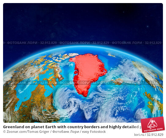 Greenland on planet Earth with country borders and highly detailed planet surface and clouds. 3D illustration. Elements of this image furnished by NASA. Стоковое фото, фотограф Zoonar.com/Tomas Griger / easy Fotostock / Фотобанк Лори