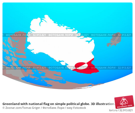 Greenland with national flag on simple political globe. 3D illustration. Стоковое фото, фотограф Zoonar.com/Tomas Griger / easy Fotostock / Фотобанк Лори