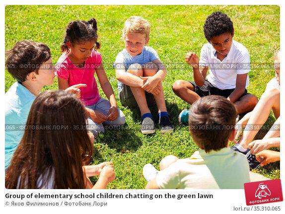 Group of elementary school children chatting on the green lawn. Стоковое фото, фотограф Яков Филимонов / Фотобанк Лори