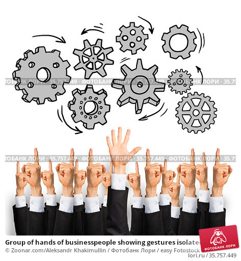 Group of hands of businesspeople showing gestures isolated on white. Стоковое фото, фотограф Zoonar.com/Aleksandr Khakimullin / easy Fotostock / Фотобанк Лори