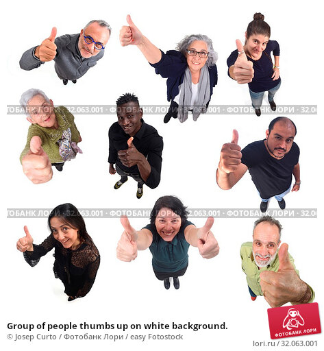 Group of people thumbs up on white background. Стоковое фото, фотограф Josep Curto / easy Fotostock / Фотобанк Лори