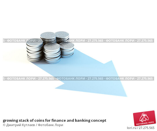 Купить «growing stack of coins for finance and banking concept», иллюстрация № 27275565 (c) Дмитрий Кутлаев / Фотобанк Лори