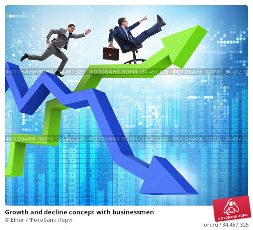 Growth and decline concept with businessmen. Стоковое фото, фотограф Elnur / Фотобанк Лори