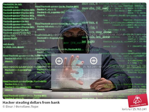 Купить «Hacker stealing dollars from bank», фото № 25763241, снято 2 декабря 2016 г. (c) Elnur / Фотобанк Лори