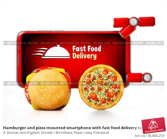 Hamburger and pizza mounted smartphone with fast food delivery text... Стоковое фото, фотограф Zoonar.com/Cigdem Simsek / easy Fotostock / Фотобанк Лори