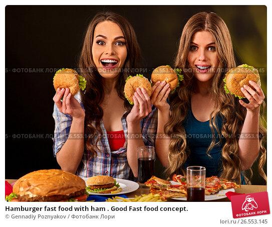 Купить «Hamburger fast food with ham . Good Fast food concept.», фото № 26553145, снято 15 октября 2015 г. (c) Gennadiy Poznyakov / Фотобанк Лори