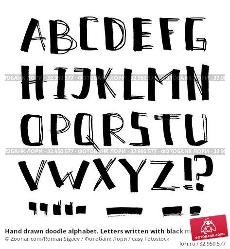 Hand drawn doodle alphabet. Letters written with black marker pens. Стоковое фото, фотограф Zoonar.com/Roman Sigaev / easy Fotostock / Фотобанк Лори