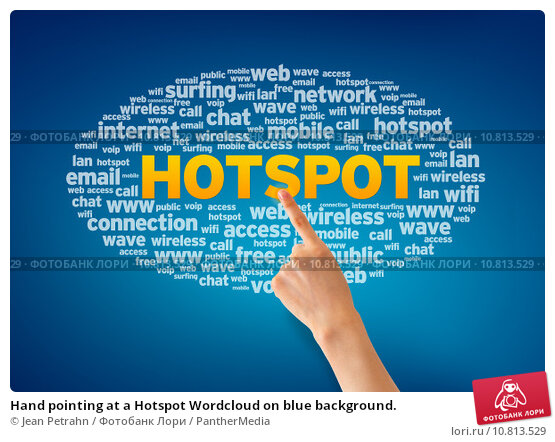 Купить «Hand pointing at a Hotspot Wordcloud on blue background.», фото № 10813529, снято 17 июня 2019 г. (c) PantherMedia / Фотобанк Лори