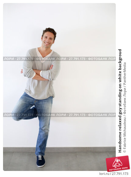 Купить «Handsome relaxed guy standing on white backgroud», фото № 27791173, снято 24 марта 2018 г. (c) PantherMedia / Фотобанк Лори