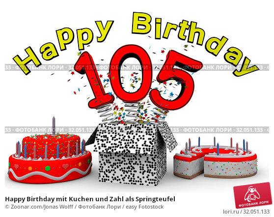 Happy Birthday mit Kuchen und Zahl als Springteufel. Стоковое фото, фотограф Zoonar.com/Jonas Wolff / easy Fotostock / Фотобанк Лори