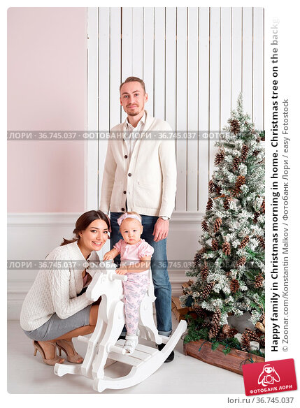 Happy family in Christmas morning in home. Christmas tree on the background... Стоковое фото, фотограф Zoonar.com/Konstantin Malkov / easy Fotostock / Фотобанк Лори