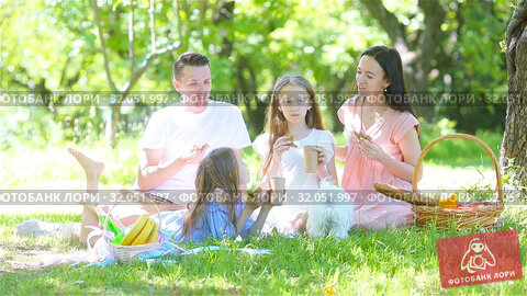 Happy family on a picnic in the park on a sunny day. Стоковое видео, видеограф Дмитрий Травников / Фотобанк Лори