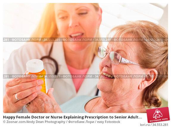 Happy Female Doctor or Nurse Explaining Prescription to Senior Adult... Стоковое фото, фотограф Zoonar.com/Andy Dean Photography / easy Fotostock / Фотобанк Лори