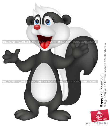 Happy skunk cartoon. Стоковая иллюстрация, иллюстратор Teguh Mujiono / PantherMedia / Фотобанк Лори