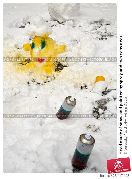 Купить «Head made of snow and painted by spray and two cans near», фото № 28117193, снято 23 февраля 2016 г. (c) Losevsky Pavel / Фотобанк Лори