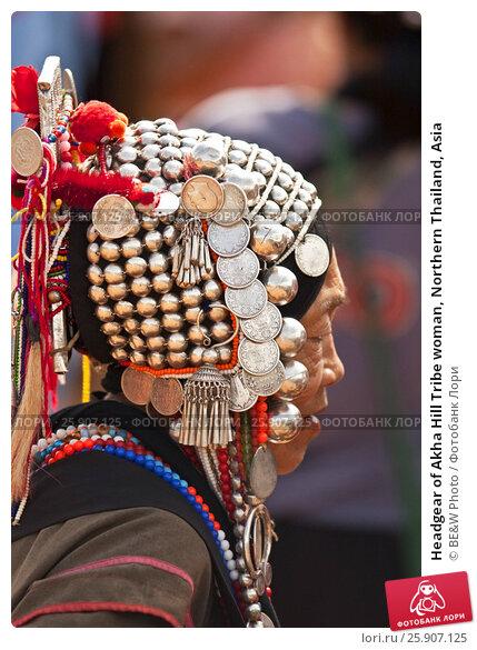 Купить «Headgear of Akha Hill Tribe woman, Northern Thailand, Asia», фото № 25907125, снято 24 апреля 2019 г. (c) BE&W Photo / Фотобанк Лори